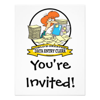 WORLDS GREATEST DATA ENTRY CLERK WOMEN CARTOON PERSONALIZED INVITATION