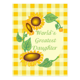 World's Greatest Daugher Country Sunflower Postcard