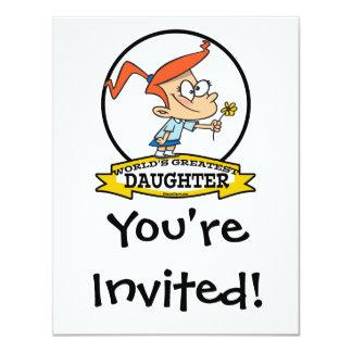 WORLDS GREATEST DAUGHTER CARTOON 4.25X5.5 PAPER INVITATION CARD