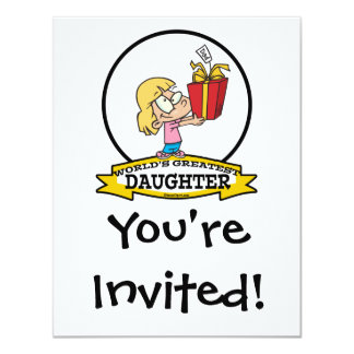 WORLDS GREATEST DAUGHTER II CARTOON 4.25X5.5 PAPER INVITATION CARD