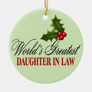 World's Greatest Daughter In Law Ceramic Ornament