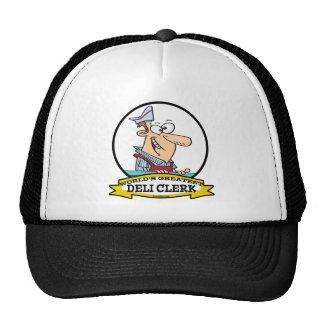 WORLDS GREATEST DELI CLERK MEN CARTOON TRUCKER HAT