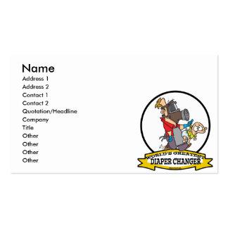WORLDS GREATEST DIAPER CHANGER DAD CARTOON BUSINESS CARD