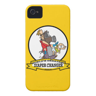 WORLDS GREATEST DIAPER CHANGER DAD CARTOON iPhone 4 CASES
