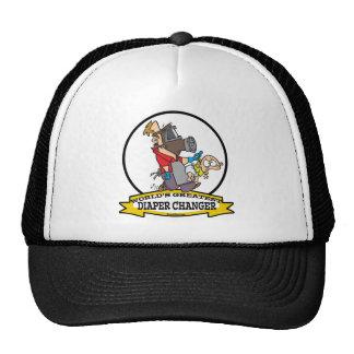 WORLDS GREATEST DIAPER CHANGER DAD CARTOON MESH HAT