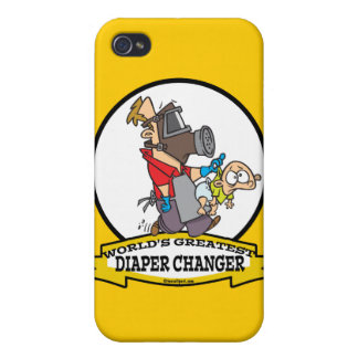 WORLDS GREATEST DIAPER CHANGER DAD CARTOON COVER FOR iPhone 4