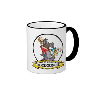 WORLDS GREATEST DIAPER CHANGER DAD CARTOON RINGER COFFEE MUG
