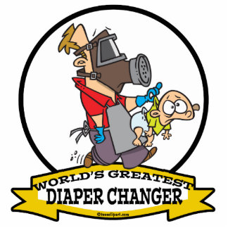 WORLDS GREATEST DIAPER CHANGER DAD CARTOON STANDING PHOTO SCULPTURE