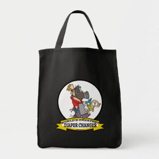 WORLDS GREATEST DIAPER CHANGER DAD CARTOON TOTE BAG
