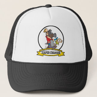 WORLDS GREATEST DIAPER CHANGER DAD CARTOON TRUCKER HAT