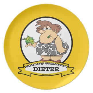 WORLDS GREATEST DIETER CARTOON DINNER PLATES