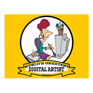 WORLDS GREATEST DIGITAL ARTIST FEMALE CARTOON POSTCARD