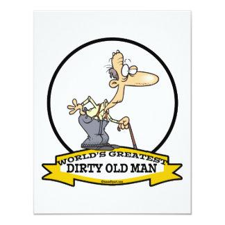 WORLDS GREATEST DIRTY OLD MAN CARTOON 4.25X5.5 PAPER INVITATION CARD