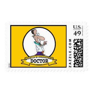 WORLDS GREATEST DOCTOR MEN CARTOON POSTAGE STAMP