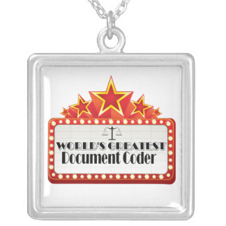 World's Greatest Document Code Square Pendant Necklace