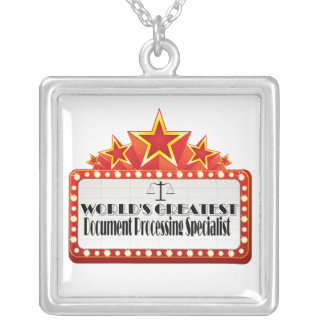 World's Greatest Document Processing Specialist Square Pendant Necklace