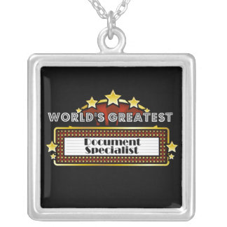 World's Greatest Document Specialist Square Pendant Necklace