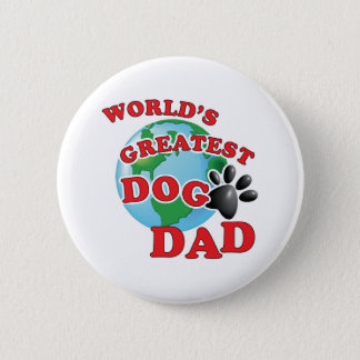 Worlds Greatest Dog Dad with Black Paw Print Button