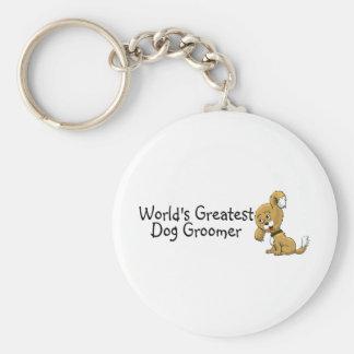 Worlds Greatest Dog Groomer Basic Round Button Keychain
