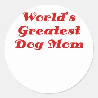 Worlds Greatest Dog Mom Classic Round Sticker