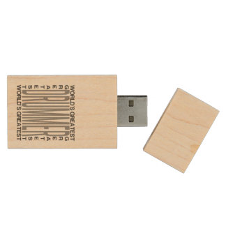 Worlds Greatest Drummer Wood USB Flash Drive