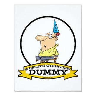 WORLDS GREATEST DUMMY MEN CARTOON 4.25X5.5 PAPER INVITATION CARD