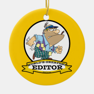 WORLDS GREATEST EDITOR CARTOON CERAMIC ORNAMENT