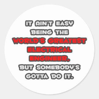 World's Greatest Electrical Engineer Joke Classic Round Sticker