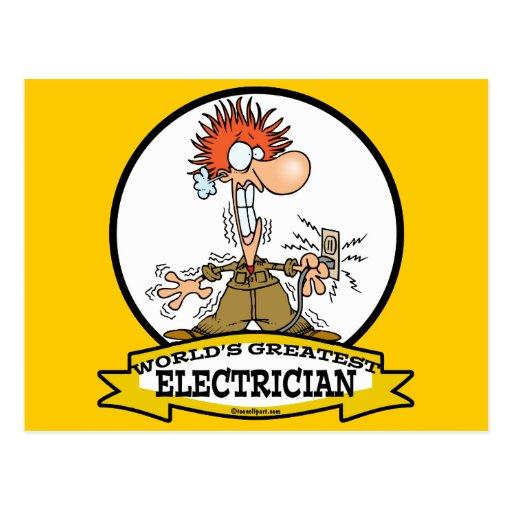WORLDS GREATEST ELECTRICIAN MEN CARTOON POSTCARD