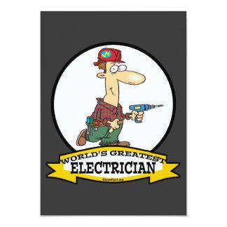 WORLDS GREATEST ELECTRICIAN MEN II CARTOON 5X7 PAPER INVITATION CARD