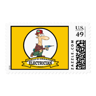 WORLDS GREATEST ELECTRICIAN MEN II CARTOON POSTAGE STAMP