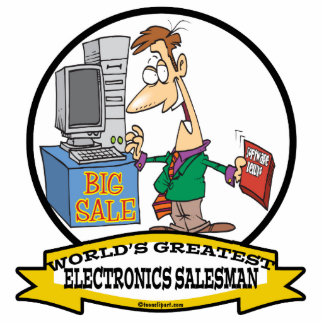 WORLDS GREATEST ELECTRONICS SALESMAN CARTOON STANDING PHOTO SCULPTURE
