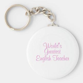 Worlds Greatest English Teacher Pink Keychain