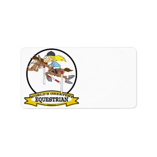 WORLDS GREATEST EQUESTRIAN WOMEN CARTOON LABEL