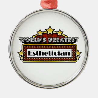 World's Greatest Esthetician Round Metal Christmas Ornament