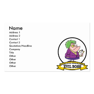 WORLDS GREATEST EVIL BOSS LADY CARTOON Double-Sided STANDARD BUSINESS CARDS (Pack OF 100)