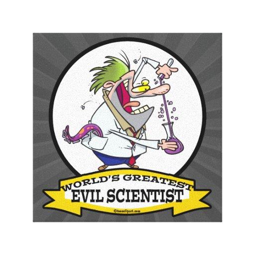 WORLDS GREATEST EVIL SCIENTIST MEN CARTOON STRETCHED CANVAS PRINTS