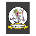 WORLDS GREATEST EVIL SCIENTIST MEN CARTOON CUSTOM INVITATION