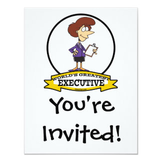 WORLDS GREATEST EXECUTIVE WOMEN CARTOON 4.25X5.5 PAPER INVITATION CARD