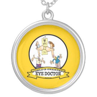 WORLDS GREATEST EYE DOCTOR MEN CARTOON ROUND PENDANT NECKLACE