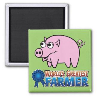 World's Greatest Famer 2 Inch Square Magnet