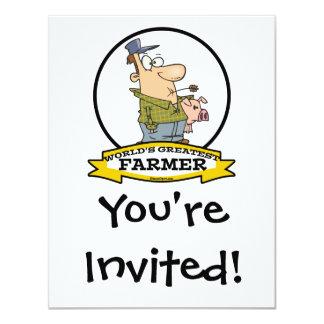 WORLDS GREATEST FARMER CARTOON 4.25X5.5 PAPER INVITATION CARD