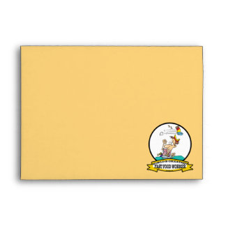 WORLDS GREATEST FAST FOOD WORKER CARTOON ENVELOPES