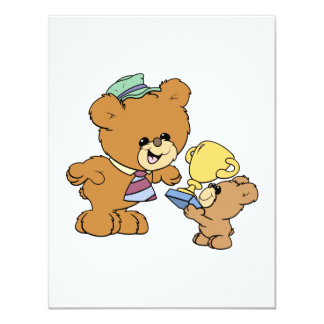 worlds greatest father cute teddy bears design 4.25x5.5 paper invitation card