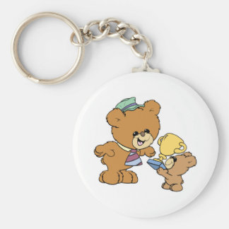worlds greatest father cute teddy bears design basic round button keychain