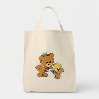 worlds greatest father cute teddy bears design grocery tote bag