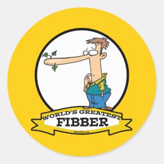 WORLDS GREATEST FIBBER MEN CARTOON CLASSIC ROUND STICKER