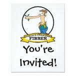 "WORLDS GREATEST FIBBER MEN CARTOON 4.25"" X 5.5"" INVITATION CARD"