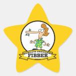 WORLDS GREATEST FIBBER WOMEN CARTOON STAR STICKER