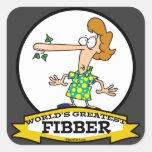 WORLDS GREATEST FIBBER WOMEN CARTOON SQUARE STICKER